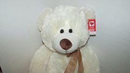 "Ganz Plush large cream stuffed teddy bear brown nose polka dot bow 13-18"" w/ tag image 4"