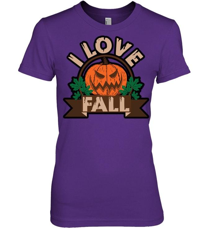 Funny Halloween Tshirt I Love Fall Pumpkin Autumn Leaves