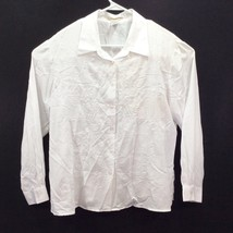 Notations Blouse Shirt Size XL Polyester White Floral Accents Long Sleeve - $15.79
