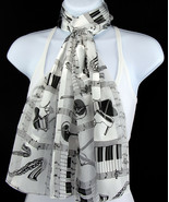 Musical Instruments Womens Scarf Music Concert Scarfs Gift Her White Scarves  - $15.79