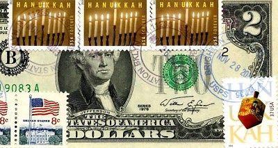 MONEY US $2 DOLLARS 1976 NEW YORK  FIRST DAY STAMP CANCEL & HANUKKAH GEM UNC image 3