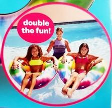 """DOUBLE HEART Tie Dye 2 Seater Pool Float 80"""" Friends 4 Ever Kids 6 Yrs NIB - $17.05"""