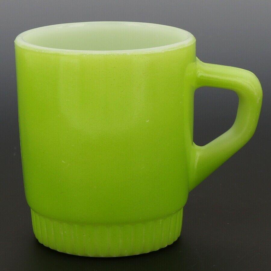Fire-King D-Handle Ribbed Base Stacking Mug Lime Green