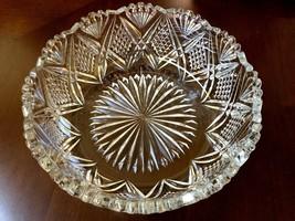 VTG Late Century Cut Crystal glass serving bowl dish - $37.87
