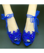 RoyalBlue Peep toe Bridesmaids Shoes,Something Blue,Open Toe Wedding Flats Shoes - £37.04 GBP