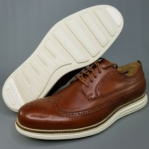 Cole Haan OriginalGrand Leather Long Wingtip Oxfords Mens SZ 8 Brogue Br... - $116.86