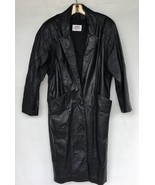 Vintage 80's Long Tapered Black Leather Coat Woman's L Two Button Should... - $52.22