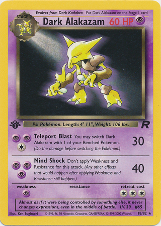 Dark Alakazam 1/82 Rare 1st Edition Team Rocket Pokemon Card