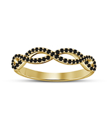 14K Gold Plated 925 Silver Black Sim Diamond Women's New Infinity Band R... - $59.51