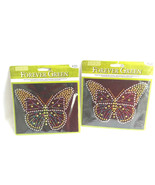 Lot of 2 Forever Green Iron-On Rhihestone & Studs Multicolor Butterfly  - $10.63