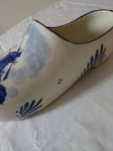 "Vintage 7"" Delft Blue Porcelain Dutch Shoe Hand Painted Windmill Holland  Hole  image 2"