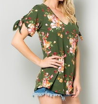 Olive Green Floral Top, Cold Shoulder Top, Knotted Short Sleeves V Neck, Womens