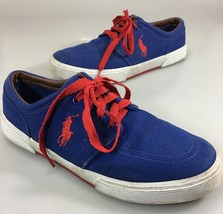 Polo Ralph Lauren Mens 9.5D Faxon Blue Canvas Red Laces Gym Shoes Sneakers - $43.61