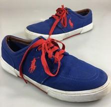Polo Ralph Lauren Mens 9.5D Faxon Blue Canvas Red Laces Gym Shoes Sneakers - $43.61