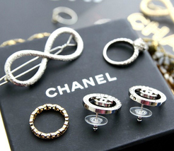 Authentic Chanel CHANEL 2017 Large Crystal CC Logo Circle Earrings -Gorgeous! image 8