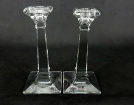 Vintage Candle Holders, Set of 2, Square Columns, Tapered Bases, Beveled... - $24.45