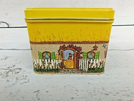 Vintage Potpourri Press Tin Container Old Fashioned House Home Scenes Ye... - $7.13