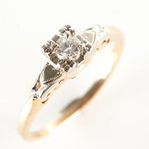 Vintage 1940's 14k Yellow & White Gold Diamond Solitaire Engagement Ring... - $565.00