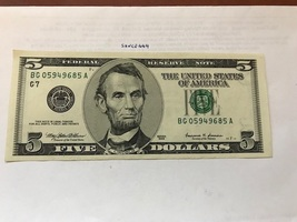 USA United States $5.00 banknote uncirculated 1999  #8 - $12.95