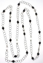 SILVER 925 NECKLACE, ONYX BLACK, LENGTH 63in, CHAIN ROLO', CIRCLES image 2