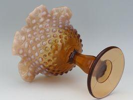 Vinatge Fenton Art Glass Cameo Opalescent Hobnail Footed Comport image 3