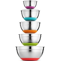 Klee 5-Piece Stainless Steel Colorful Mixing Bowls with Rubber Bottom, S... - $47.86