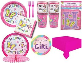 Disposable Dinnerware Set |Happy Birthday Butterfly Theme Party - $36.89