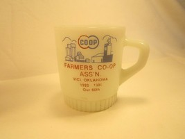 Coffee Cup Glass Mug Anchor Hocking Farmer's Co-op Fire King Vici Oklahoma [Y4a] - $13.44