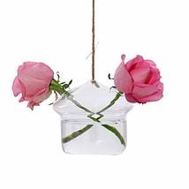 Ivolador Mushroom-Shaped Hanging Glass Flower Planter Vase Terrarium Con... - $16.91