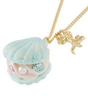 ❦The Little Mermaid Ariel Shell Aqua Makaron Necklace Shell Pendant NEW ... - $157.41