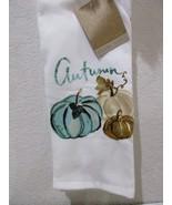 Gilded Maple Fall Thanksgiving Aqua Green Pumpkin Kitchen Towels Set of 3 - $16.99