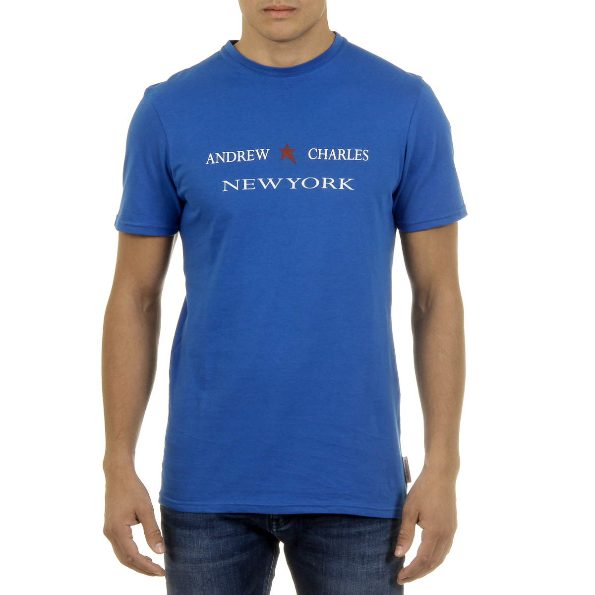 Primary image for Andrew Charles Mens T-Shirt Short Sleeves Round Neck Blue KEITA