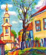 """Akimova: SPRING (reduced price), wax painting, 8""""x9.5"""" - $17.00"""