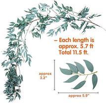 2 PCS Artificial Greenery Garland Total 12Ft Willow Leaf Garland Faux Silk Jungl image 4