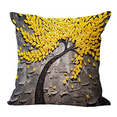 Global Supplies Cotton Linen Square Yellow Leaves Throw Pillow Case Cushion Cove