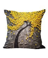 Global Supplies Cotton Linen Square Yellow Leaves Throw Pillow Case Cush... - £8.58 GBP