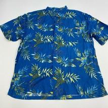 Joe Marlin Button Up Shirt Mens XXL Blue Floral Hawaiian Short Sleeve Ca... - $18.95