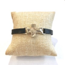 Leather Cross Bracelet, Hammered Cross Bracelet, Narrow Leather Bracelet w Cross