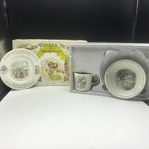 Wedgwood Beatrix Potter Mrs Tiggy Winkle Nursery Set Mug Plate Oatmeal 3 Piece - $74.25