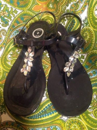 97d97be3e BCBG PARIS BELMA 10M WOMEN S BLACK PLASTIC THONG SANDALS W JEWELED TOE STRAP