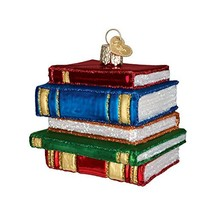 Old World Christmas Ornaments: Stack Of Books Glass Blown Ornaments for ... - $11.26