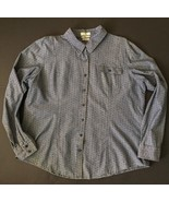 Van Heusen Polka Dot Chambray Shirt XXL Classic Fit Blue Button Front Pa... - $14.84