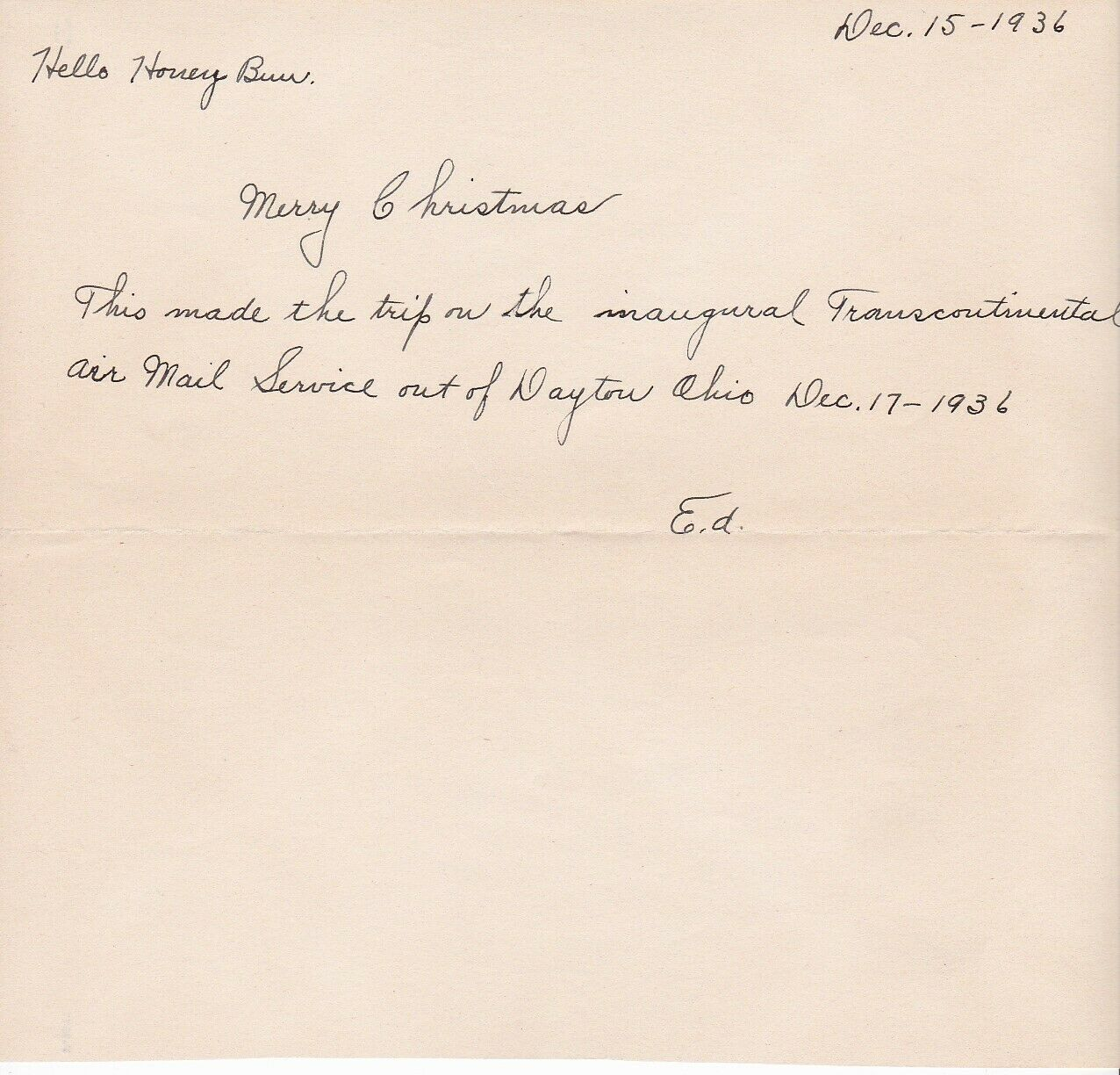 33rd ANNIVERSARY OF WRIGHT BROTHERS FIRST FLIGHT FLOWN MAIL DAYTON OH 12/17/1936 image 3