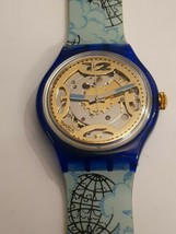 Swatch Watch SAN101 Mappamondo Automatic New Old Stock 1993 Vintage Coll... - $84.39