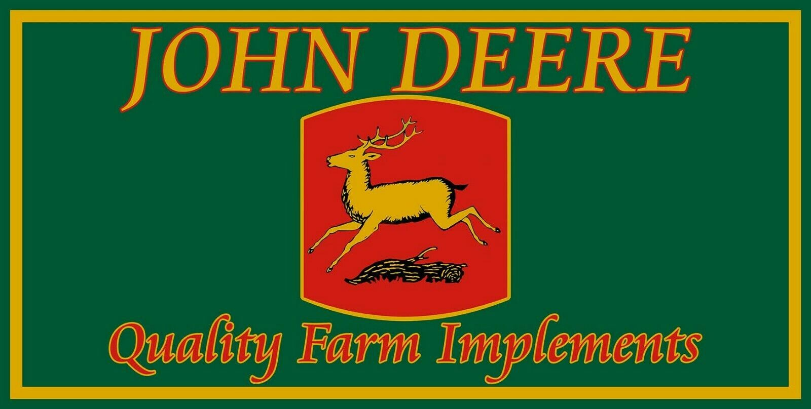John Deere Quality Farm Implements Vintage Logo Metal Sign