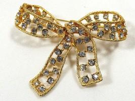 VTG Gold Tone Metal Clear rhinestones Bow Pin Brooch - $34.65