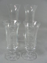 Juice Glasses Clear Tulip Shape on 8 Paneled Short Stem Base - $19.80