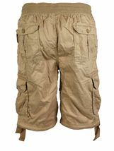 LR Scoop Men's Elastic Waist Drawstring Multi Pocket Cotton Cargo Shorts CJS-80 image 14