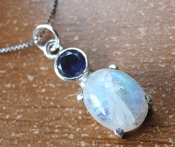 Faceted Iolite and 4-Pronged Rainbow Moonstone Necklace 925 Sterling Silver d29b - $22.72