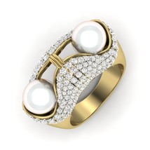 Yellow Fn 925 Sterling Silver Engagement Ring Gift Off White Pearl Weddi... - $219.99